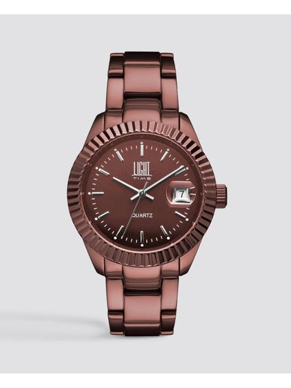Brown Metal Strap Analog Watch