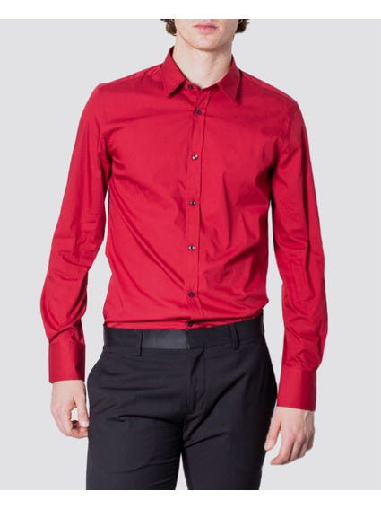 Red Plain Long Sleeves Shirt