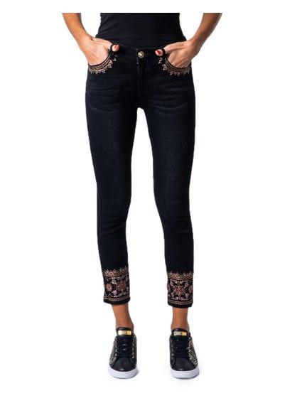 Button Zip Embroider Pocket Jeans