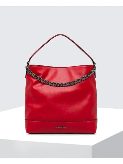 Red Casual Leather Bag