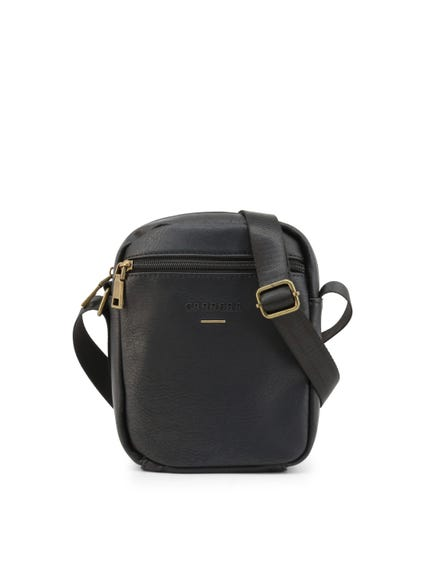 Black Leather Round Zip Crossbody Bag