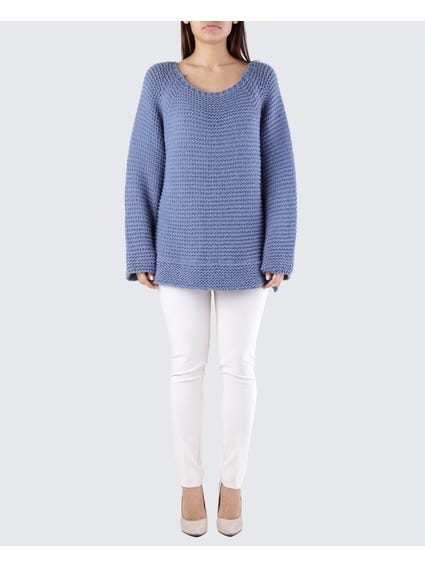 Blue Zigzag Pattern Sweater