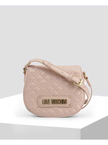 Pink Quilted Signature Crossbody Bag