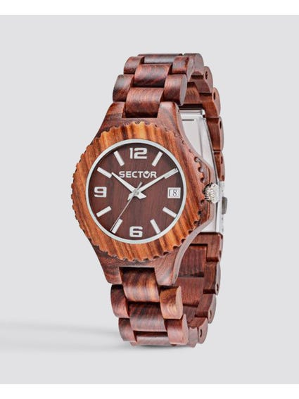Red Wooden Analog Watch
