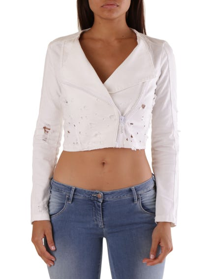 Repaired Zip Crop Sweatshirt