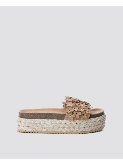 Beige Wedges Espadrille Sandals