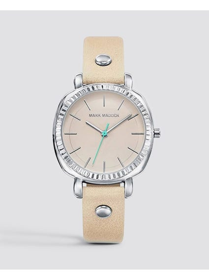 Beige Leather Analog Watch
