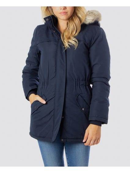 Blue Faux Hooded Jacket