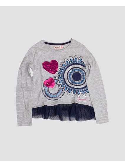 Grey Embellished Kids Top