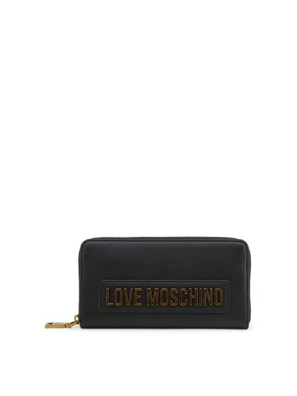 Black Round Zip Logo Wallet