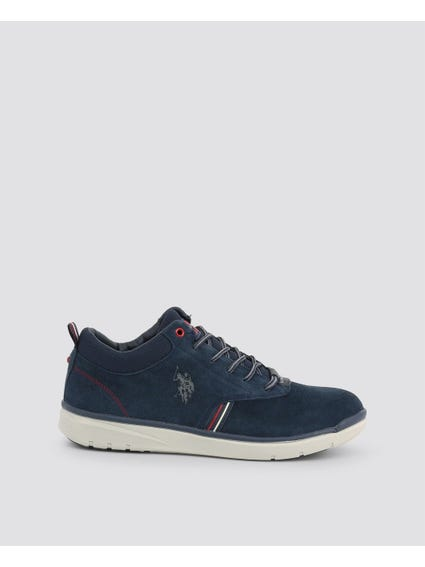 Dark Blue Ygora Textured Collar Sneakers