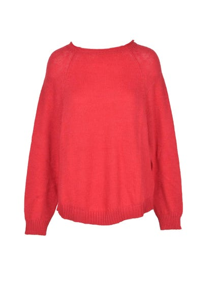 Wide Neck Long Sleeve Knitwear
