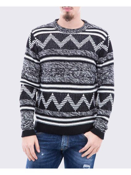 Geometric Crew Knit Sweater