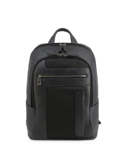 Black Leather Zipper Backpack