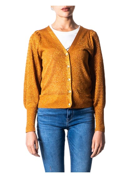Gold V Neck Button Cardigan