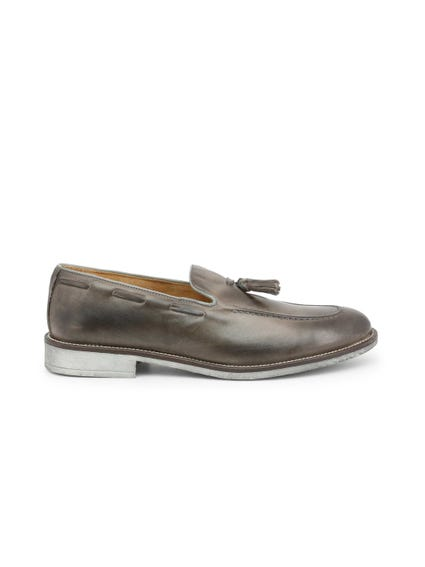 Grey Leather Crust Tassel Moccasins