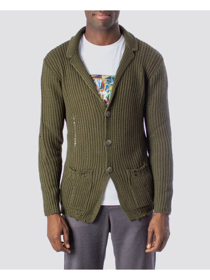 Green Collar Button Cardigan