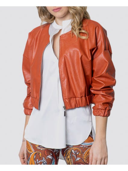 Brown Zip Closure Cropped Jacket