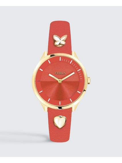 Orange Pin Dial Leather Watch