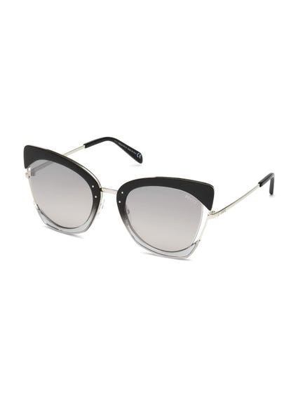 Black Earpiece Metallic Sunglasses