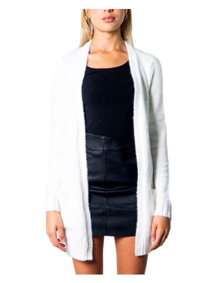 White Open Front Long Sleeve Cardigan