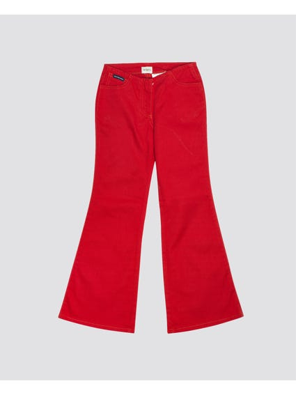 Red Plain Kids Pants
