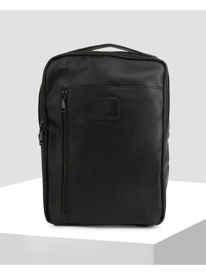 Black Barton Zip Leather Backpack