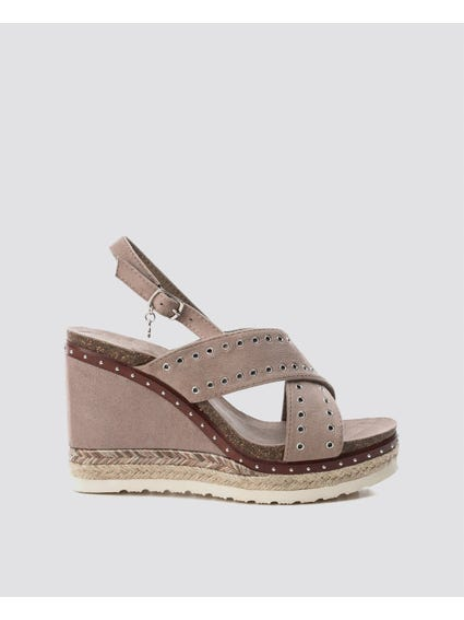 Taupe Cross Strap Wedges Sandals