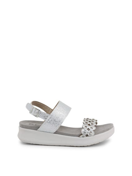 Grey Ankle Strap Buckle Pin Sandals