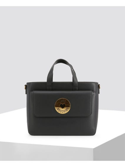Black Front Flap Pocket Handbag