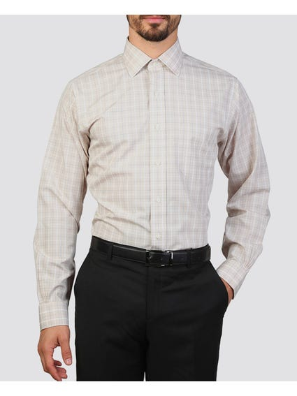 Beige Checked Long Sleeves Shirt