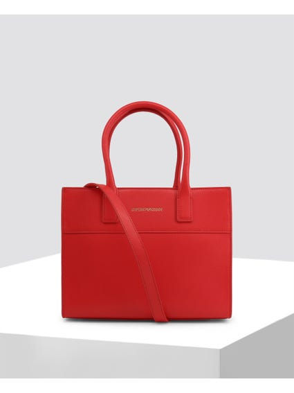 Red Plain Textured Handbags