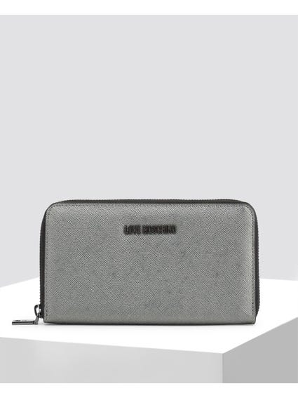 Grey Textured Zip Around Wallet