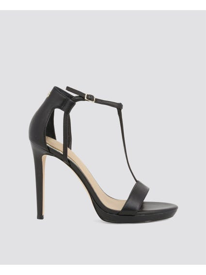 Black Buckle High Heel Sandals