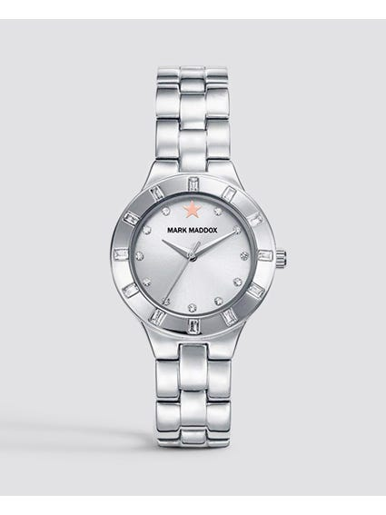 Silver Crystal Indices Analog Watch