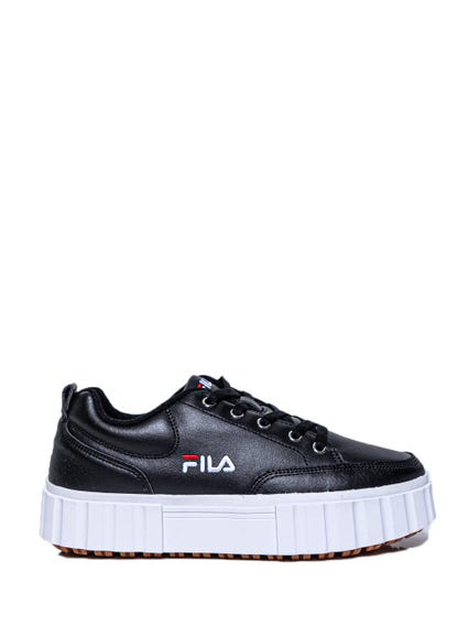 Black High Sole Lace Up Sneakers