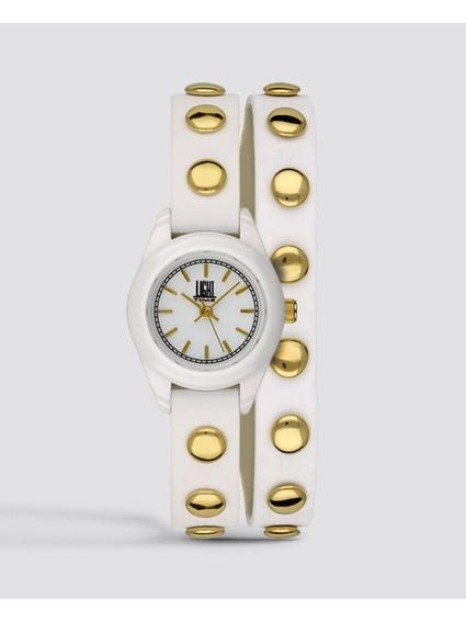 White Studs Strap Quartz Watch