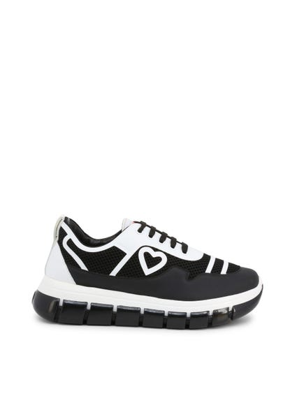 Black Heart Logo Mesh Lace Up Sneakers