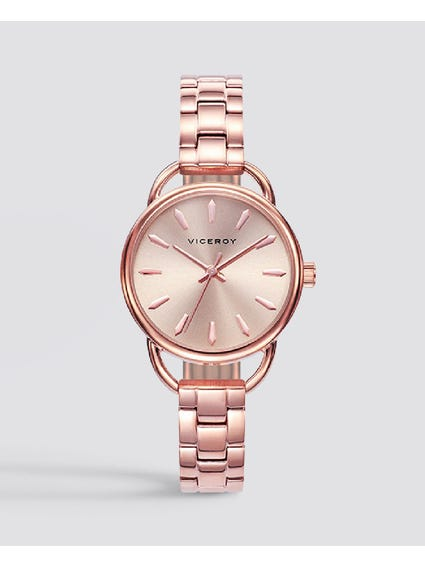 Timeless Rose Gold Dial Stainless Steel Watch