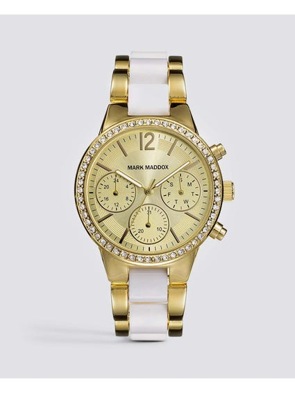 Gold Crystal Two Tone Chronograph Watch