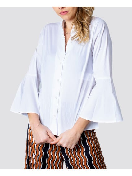 Wide Sleeves Collar Shirt
