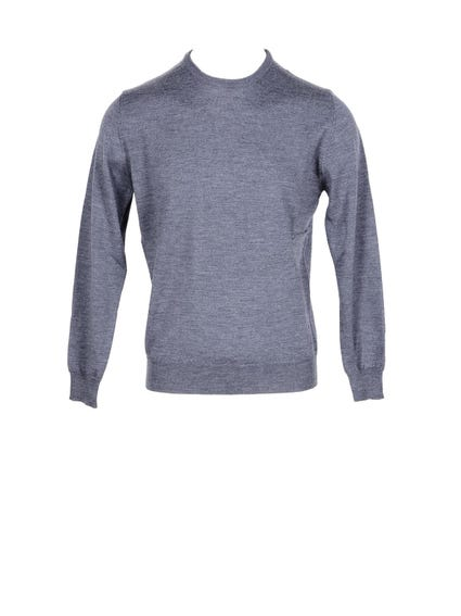 Grey Plain Ribbed Hem Knitwear