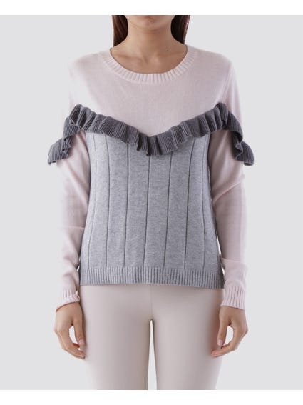 Ruffle Long Sleeves Knitted Top