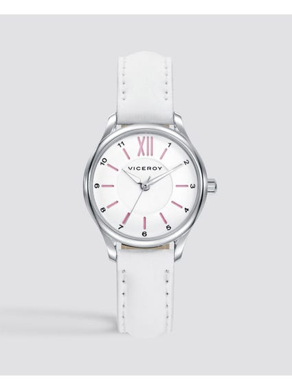 Sweet White Leather Strap Kids Watch