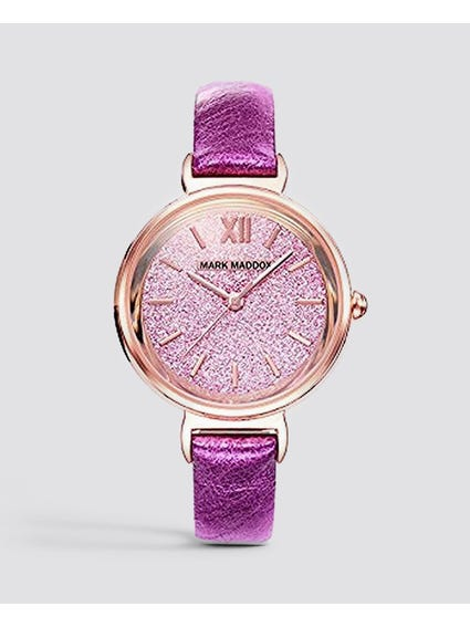 Pink Stainless Steel Analog Watch