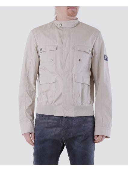 Beige Snap Button Collar Jacket with Four Front Flap Pockets