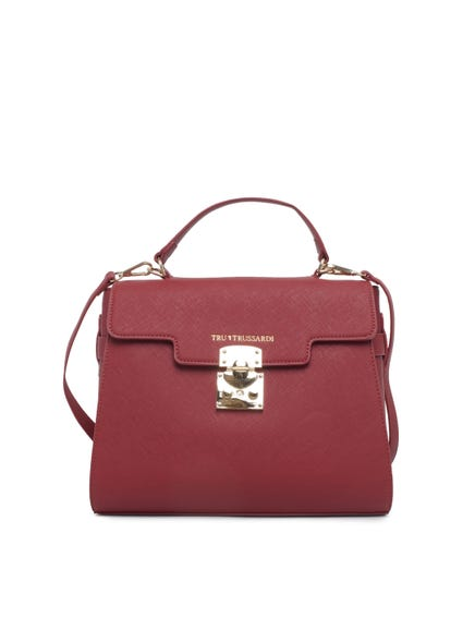 Red Leather Snap Lock Hand Bag