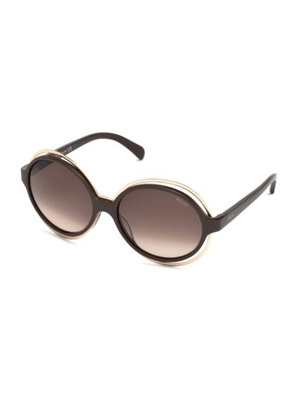 Brown Round Frame Rim Sunglasses
