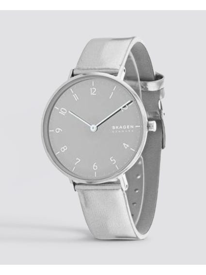 Silver Aaren Leather Watch