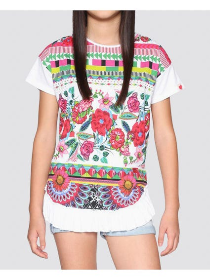 White Floral Short Sleeves Kids Top